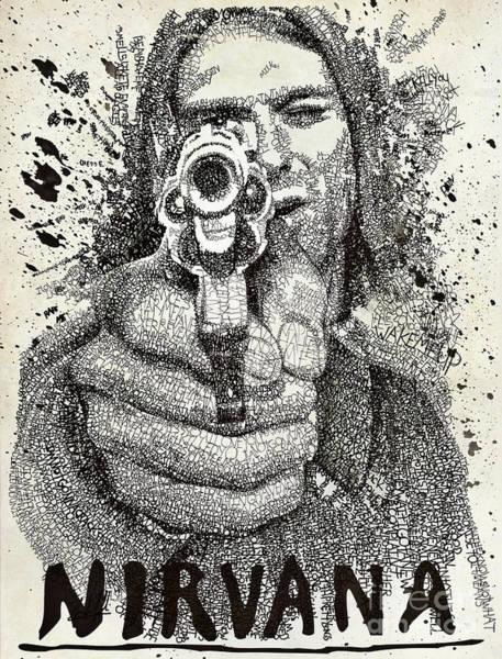Nirvana Wall Art - Drawing - Kurt Poster by Michael Volpicelli