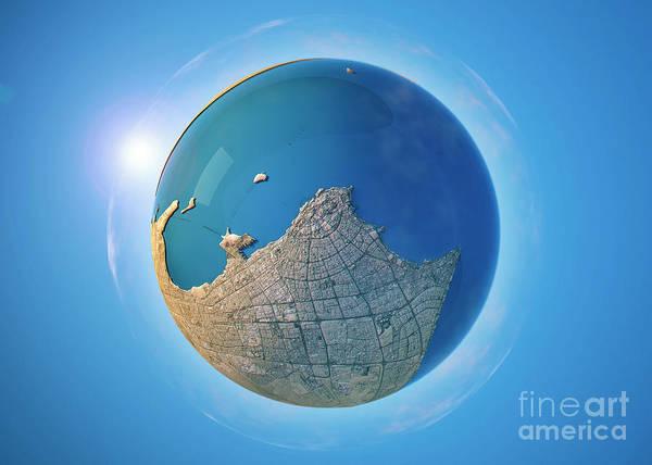 Little Planet Digital Art - Kuwait City 3d Little Planet 360-degree Sphere Panorama by Frank Ramspott