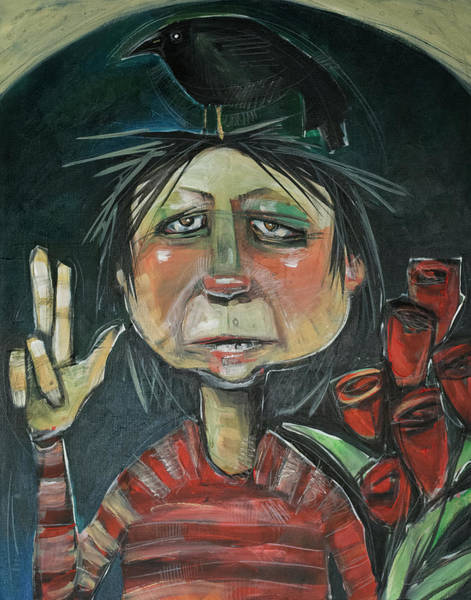 Painting - Kyle Is At The Door With Flowers by Tim Nyberg