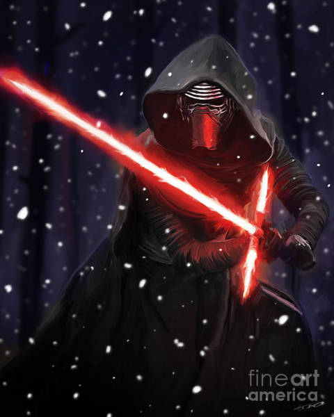 Shower Curtain Painting - Kylo Ren by Paul Tagliamonte