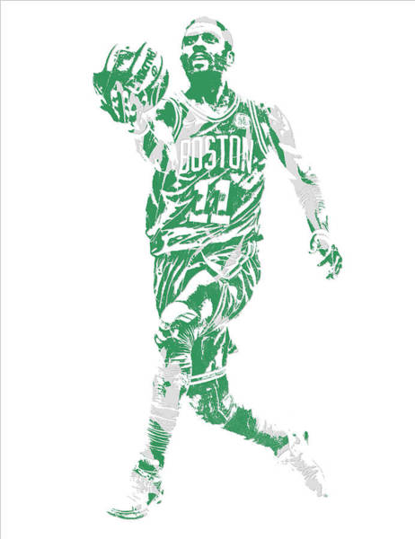 Wall Art - Mixed Media - Kyrie Irving Boston Celtics Pixel Art 43 by Joe Hamilton