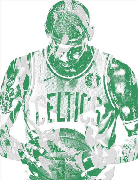 Wall Art - Mixed Media - Kyrie Irving Boston Celtics Pixel Art 5 by Joe Hamilton