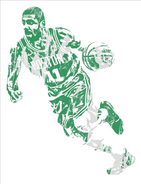 Wall Art - Mixed Media - Kyrie Irving Boston Celtics Pixel Art 9 by Joe Hamilton