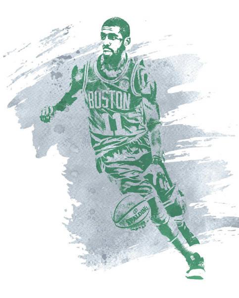 Wall Art - Mixed Media - Kyrie Irving Boston Celtics Water Color Art 3 by Joe Hamilton