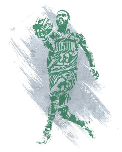 Wall Art - Mixed Media - Kyrie Irving Boston Celtics Water Color Art by Joe Hamilton