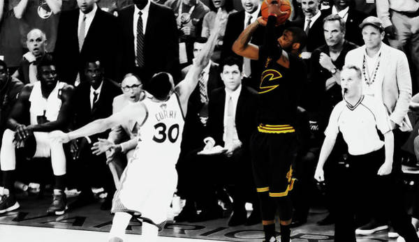 Wall Art - Mixed Media - Kyrie Irving Smooth Jumper by Brian Reaves