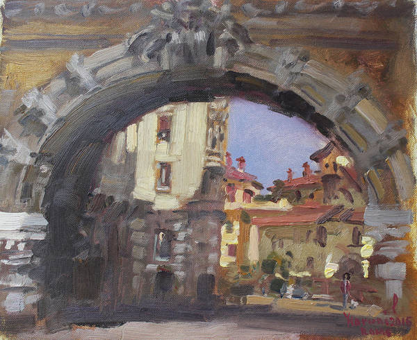 Wall Art - Painting - L-arco Di Via Tagliamento Rome by Ylli Haruni