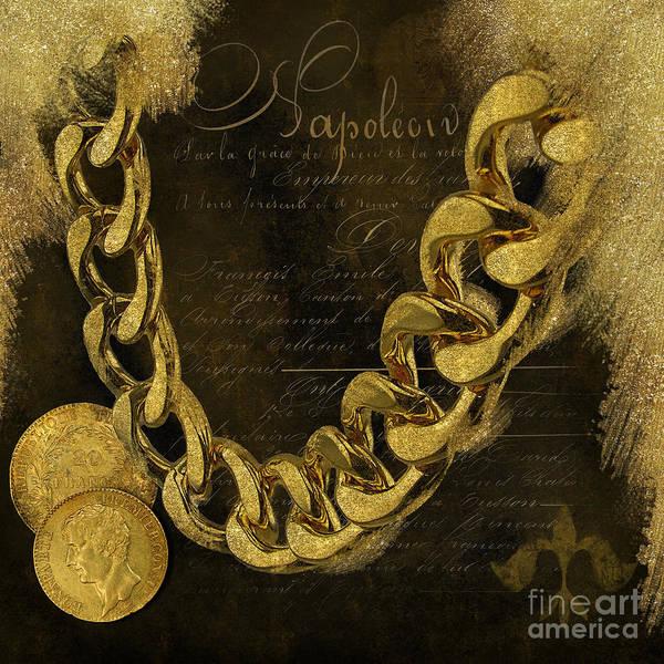 Fleur De Lys Painting - Napoleons Gold, Glitter, Brown, Monochrome by Tina Lavoie