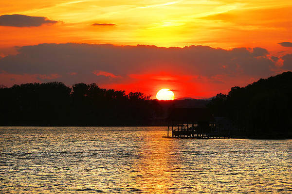 Photograph - Bloody Red Sunset Smith Mountain Lake by The American Shutterbug Society