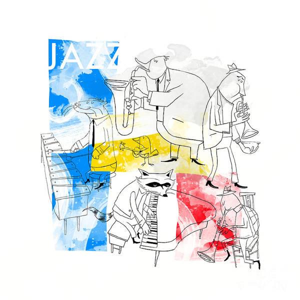 Music Instrument Digital Art - La Bande Du Jazz by Sean Hagan