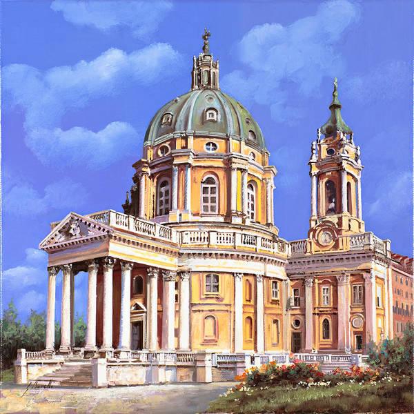Graves Wall Art - Painting - la basilica di Superga by Guido Borelli