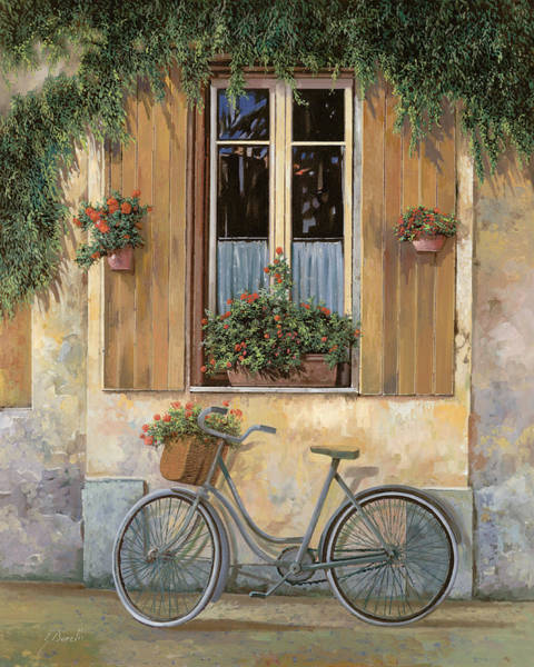 Romantic Flower Wall Art - Painting - La Bici by Guido Borelli