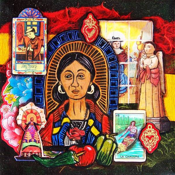 Sacred Mixed Media - La Cocinera In Red by Candy Mayer