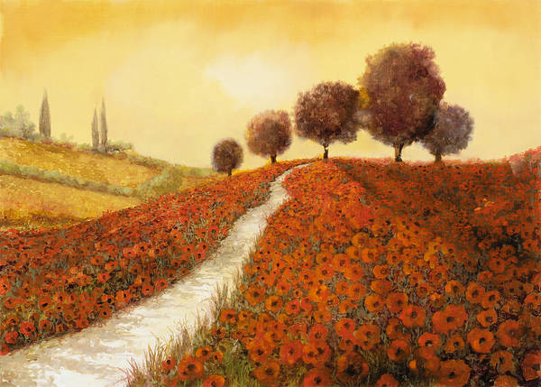 Red Poppies Wall Art - Painting - La Collina Dei Papaveri by Guido Borelli