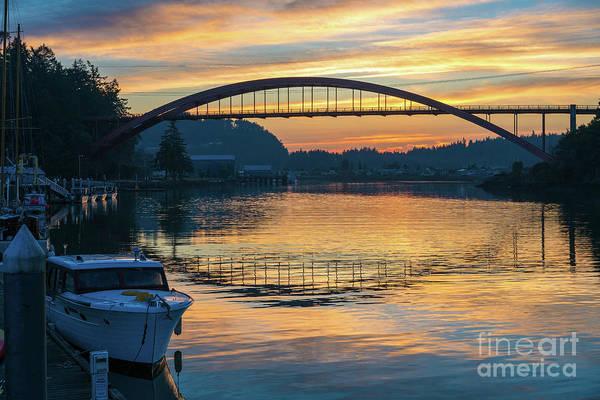 Wall Art - Photograph - La Conner Rainbow Bridge Sunset by Mike Reid