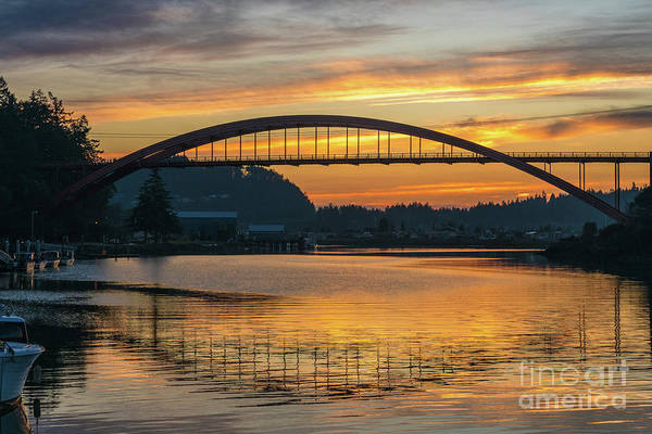 Wall Art - Photograph - La Conner Rainbow Bridge Sunset Reflection by Mike Reid