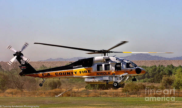 Copter Photograph - La County Fire Air Support by Tommy Anderson