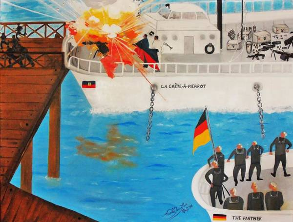 Flying The Flag Wall Art - Painting - La Crete-a-pierrot And The Panther by Nicole Jean-Louis