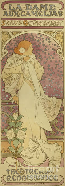 Wall Art - Painting - La Dame Aux Camellias by Alphonse Marie Mucha