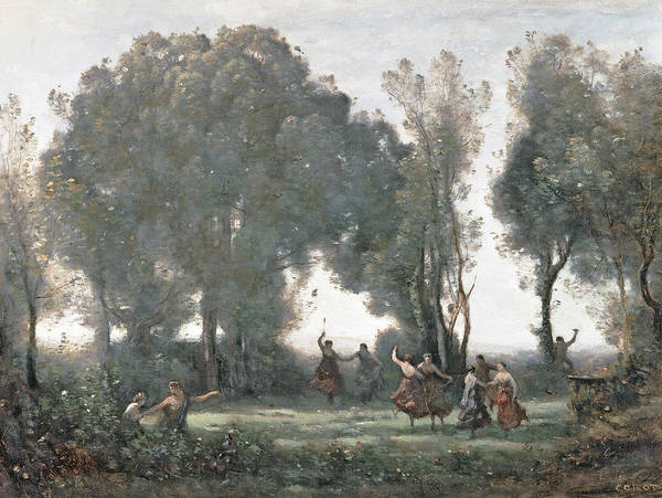 Partying Painting - La Danse Des Nymphes by Jean Baptiste Camille Corot