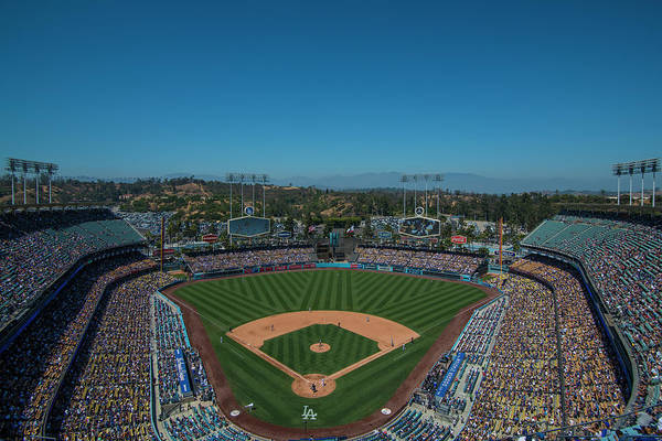 Photograph - La Dodgers Stadium Baseball 2087 by David Haskett II