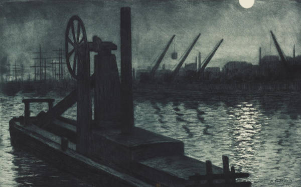 Darkness Painting - La Drague De Dieppe by Henri Charles Guerard