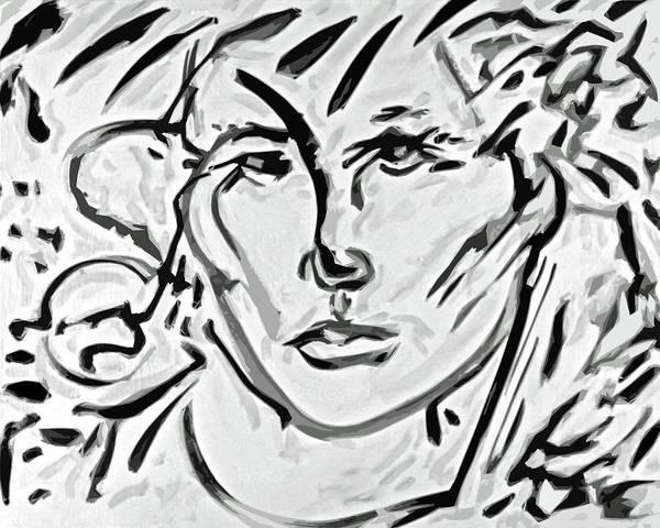 Ranchera Wall Art - Digital Art - La Dreamer In Black And White-1 by Jimmy Longoria