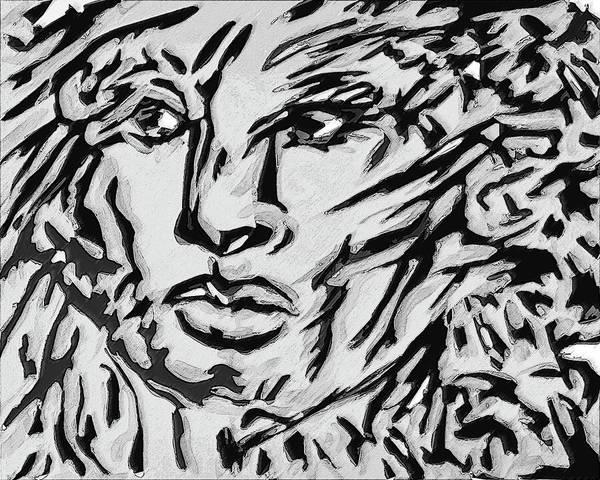 Ranchera Wall Art - Digital Art - La Dreamer In Black And White-2 by Jimmy Longoria