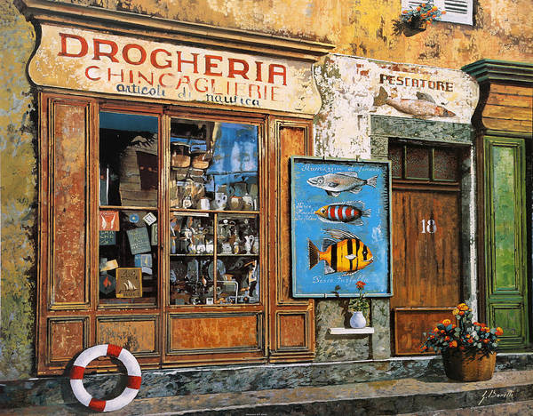 Shops Painting - La Drogheria by Guido Borelli