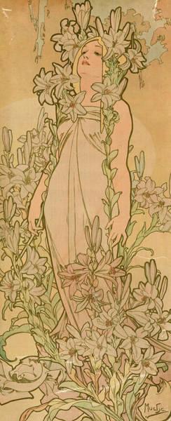Mucha Painting - La Femme Animee En Fleur, Lys by Alphonse Mucha