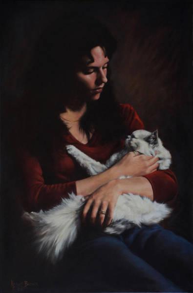 Painting - La Fille Et Le Chat by Harvie Brown