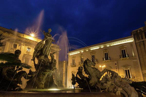 Photograph - La Fontana Di Diana - Syracuse Sicily Romantic Blue Hour by Georgia Mizuleva