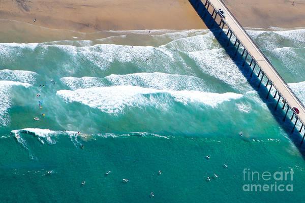 Scripps Pier Photograph - La Jolla Shores Scripps Pier Surfers Aerial View by Christy Woodrow
