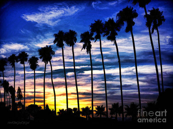 Photograph - La Jolla Silhouette - Digital Painting by Sharon Tate Soberon