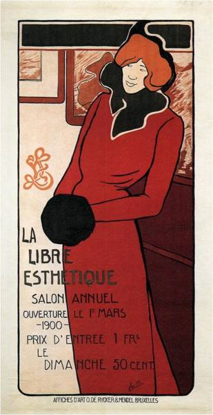 Free Mixed Media - La Libre Esthetique - Woman In Red Long Coat - Vintage Advertising Poster by Studio Grafiikka