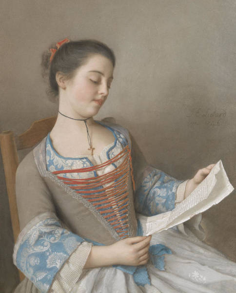 Library Drawing - La Liseuse by Jean-Etienne Liotard