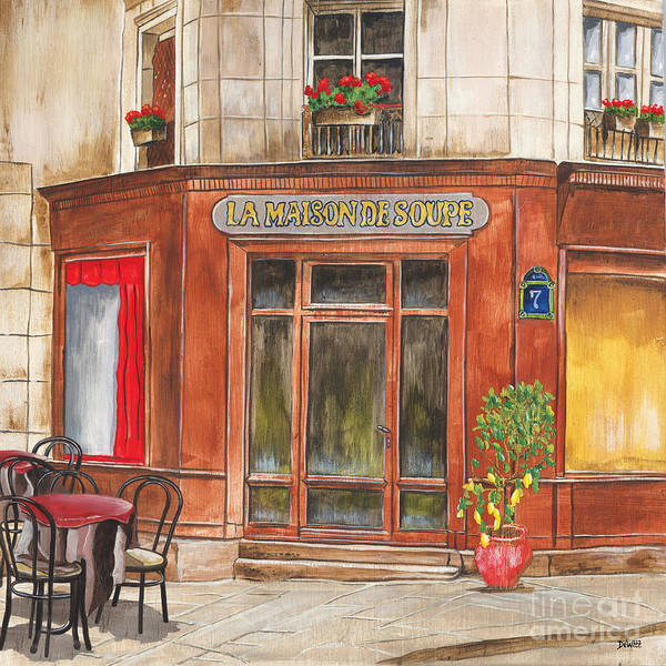 City Cafe Wall Art - Painting - La Maison De Soupe by Debbie DeWitt