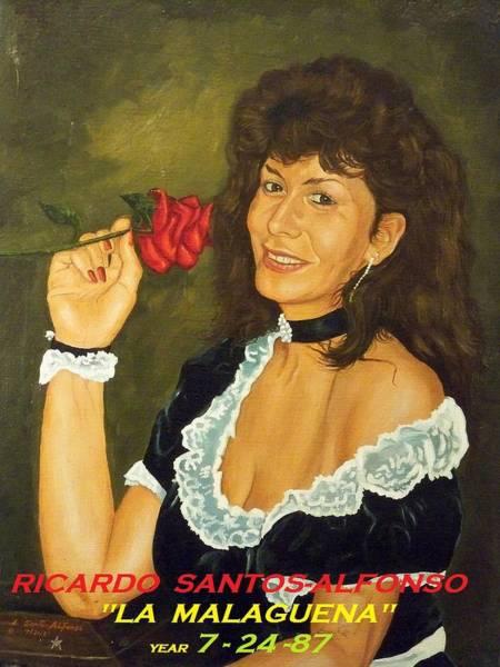 Gitana Wall Art - Painting - La  Malaguena...y Su  Rosa by Ricardo Santos-alfonso