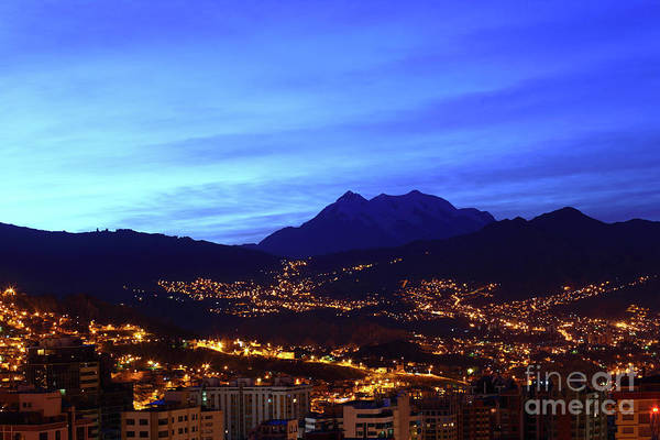 Photograph - La Paz And Mt Illimani Before Sunrise Bolivia by James Brunker