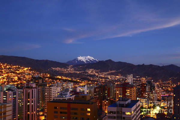 Photograph - La Paz City Center At Twilight Bolivia by James Brunker