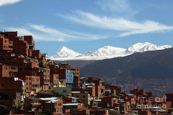 Photograph - La Paz Suburb And The Cordillera Real Mountains Bolivia by James Brunker