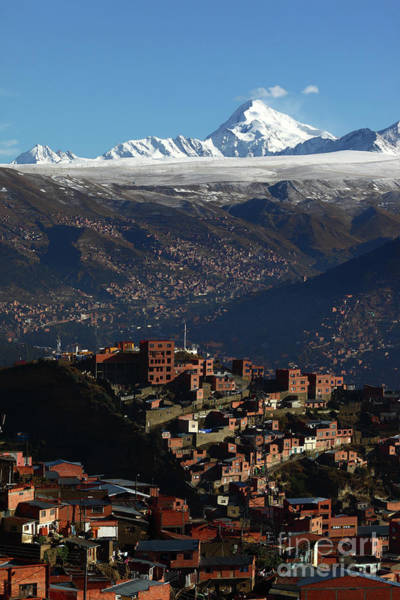 Photograph - La Paz Suburbs And Mt Huayna Potosi Bolivia by James Brunker