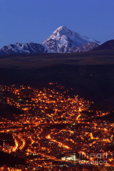 Photograph - La Paz Suburbs And Mt Huayna Potosi by James Brunker
