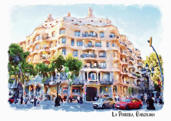 Beautiful Scenery Painting - La Pedrera Barcelona by Marian Voicu