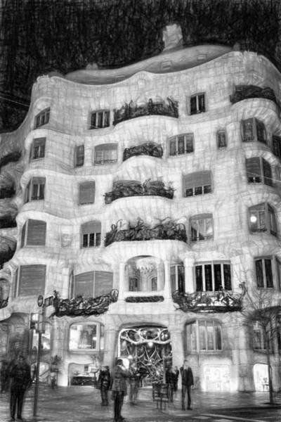 Photograph - La Pedrera Night Facade Bw by Joan Carroll