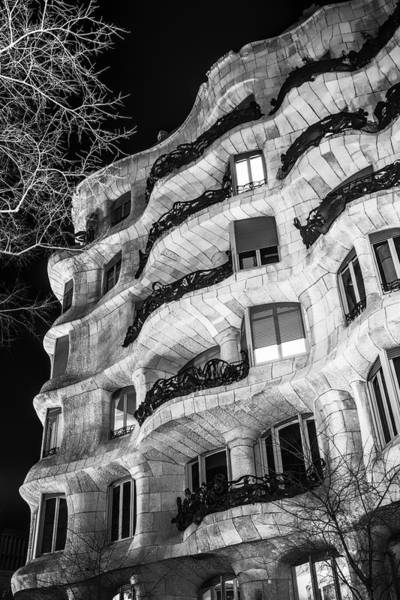 Photograph - La Pedrera Night by Joan Carroll