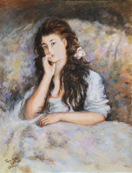 Wall Art - Painting - La Pensee My Reproduction Of Renoirs Work by Ekaterina Mortensen