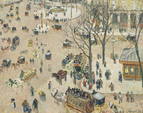 Wall Art - Painting - La Place Du Theatre Francais by Camille Pissarro