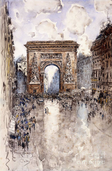 Area Painting - La Porte St Denis, Paris by Frank Myers Boggs