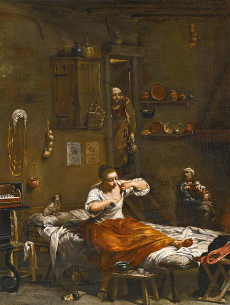 Painting - La Pulce Or The Flea Hunt by Giuseppe Maria Crespi